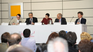 The Intelligence Squared panel, from left to right: Daniel Bell, Daniel Fung, moderator Louisa Lim, Kenneth Lieberthal and Ronny Tong Ka-wah.