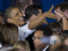 President Obama greets audience members Saturday after speaking at a campaign event at Mentor High School in Mentor, Ohio, before traveling to Milwaukee for another campaign event.