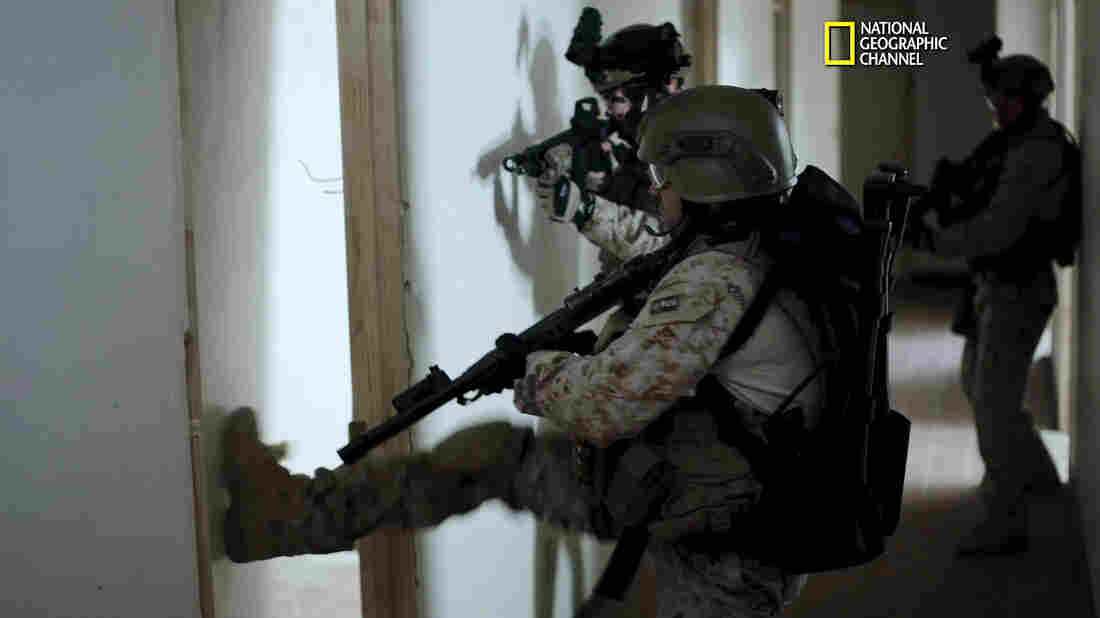 A still image from a clip of the National Geographic Channel's SEAL Team Six. The film, which depicts the events leading up to the raid that killed Osama bin Laden, premieres Sunday night.