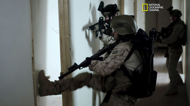 A still image from a clip of the National Geographic Channel's SEAL Team Six. The film, which depicts the events leading up to the raid that killed Osama bin Laden, premieres Sunday night. (The National Geographic Channel)