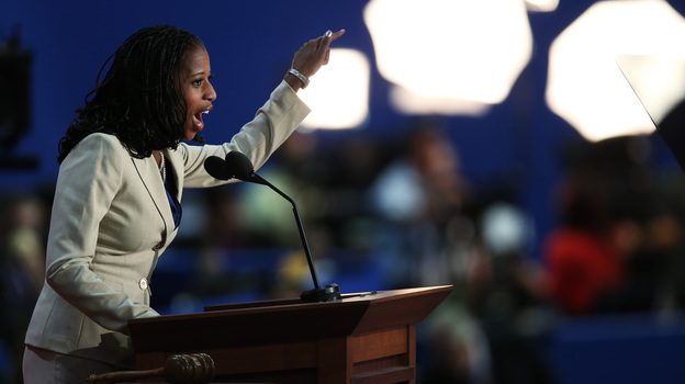 On Tuesday, Mia Love could become the first black Republican woman elected to Congress. Here, she speaks at the Republican National Convention in Tampa, Fla., on Aug. 28. (Getty Images)