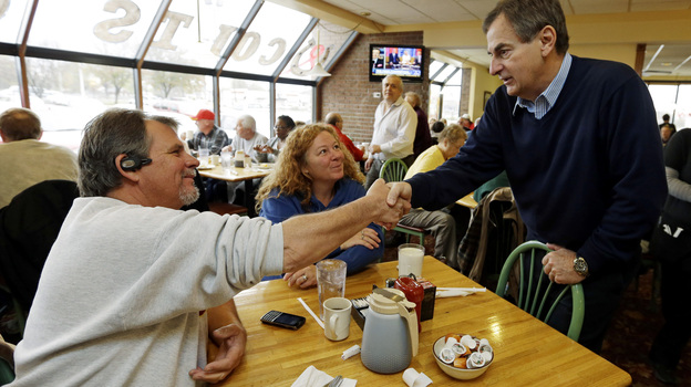 Republican Richard Mourdock, candidate for Indiana's U.S. Senate seat (right) meets Mike Nestor and LoRita Stofleth at Blueberry Hill Pancake House Saturday in Indianapolis. (AP)