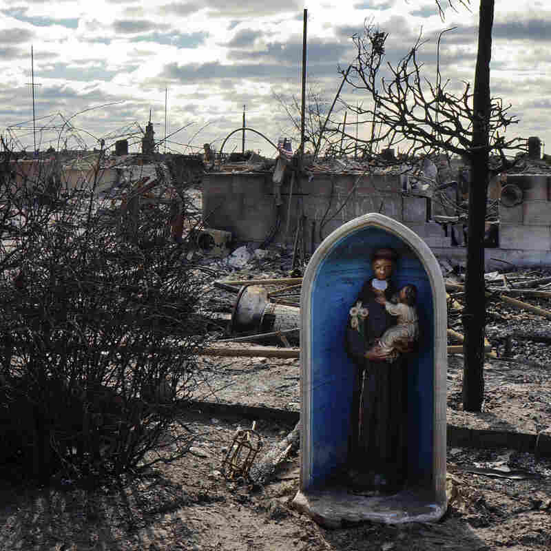 A chapel icon that once adorned the front of a beachfront home is one of the few items to have survived what is now known as the Breezy Point fire in Queens.