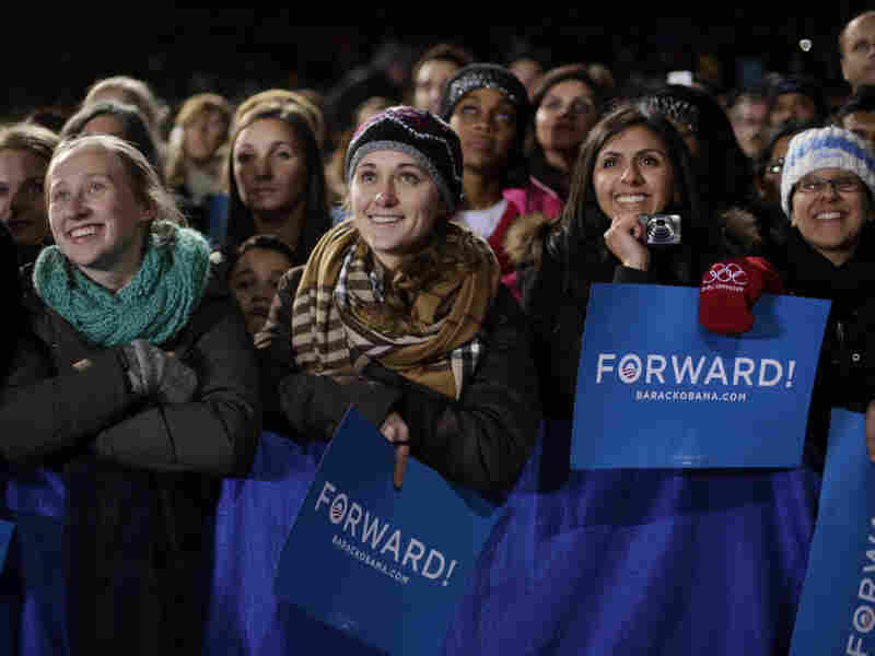 Supporters listen to President Barack Obama speak at a campaign event in Bristow, Va., on Saturday.