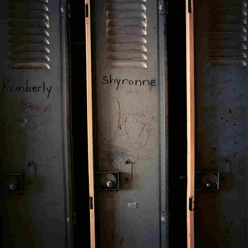 Personalized lockers at Julia C. Frazier Elementary School.