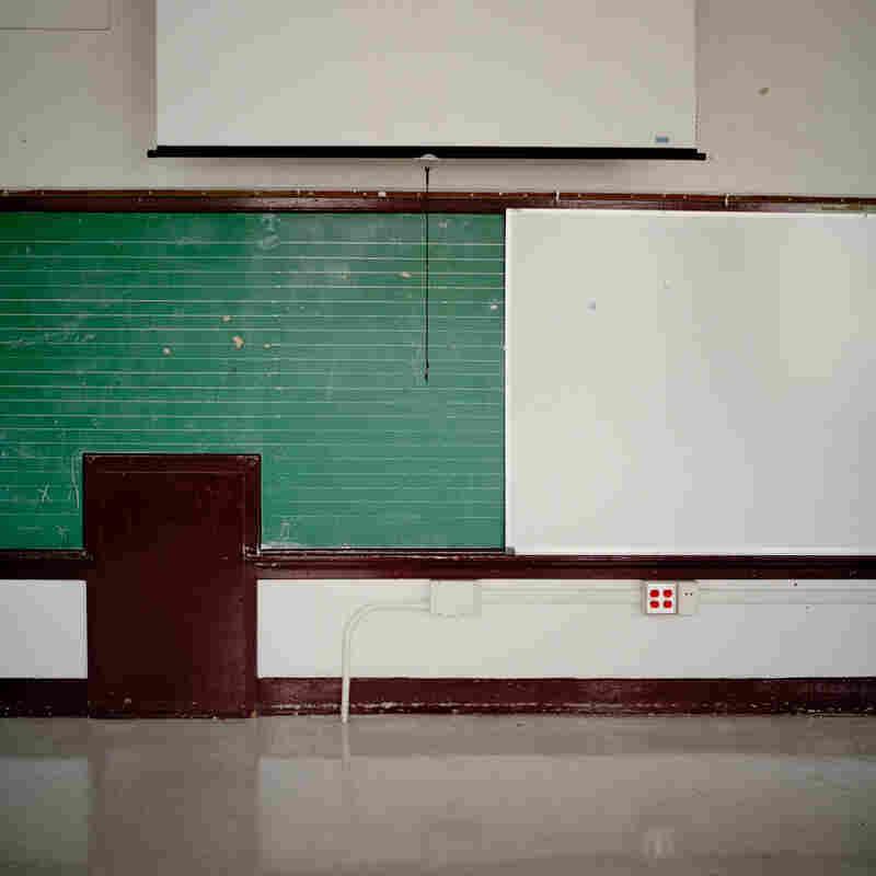 An empty classroom at James W. Fannin Elementary School.