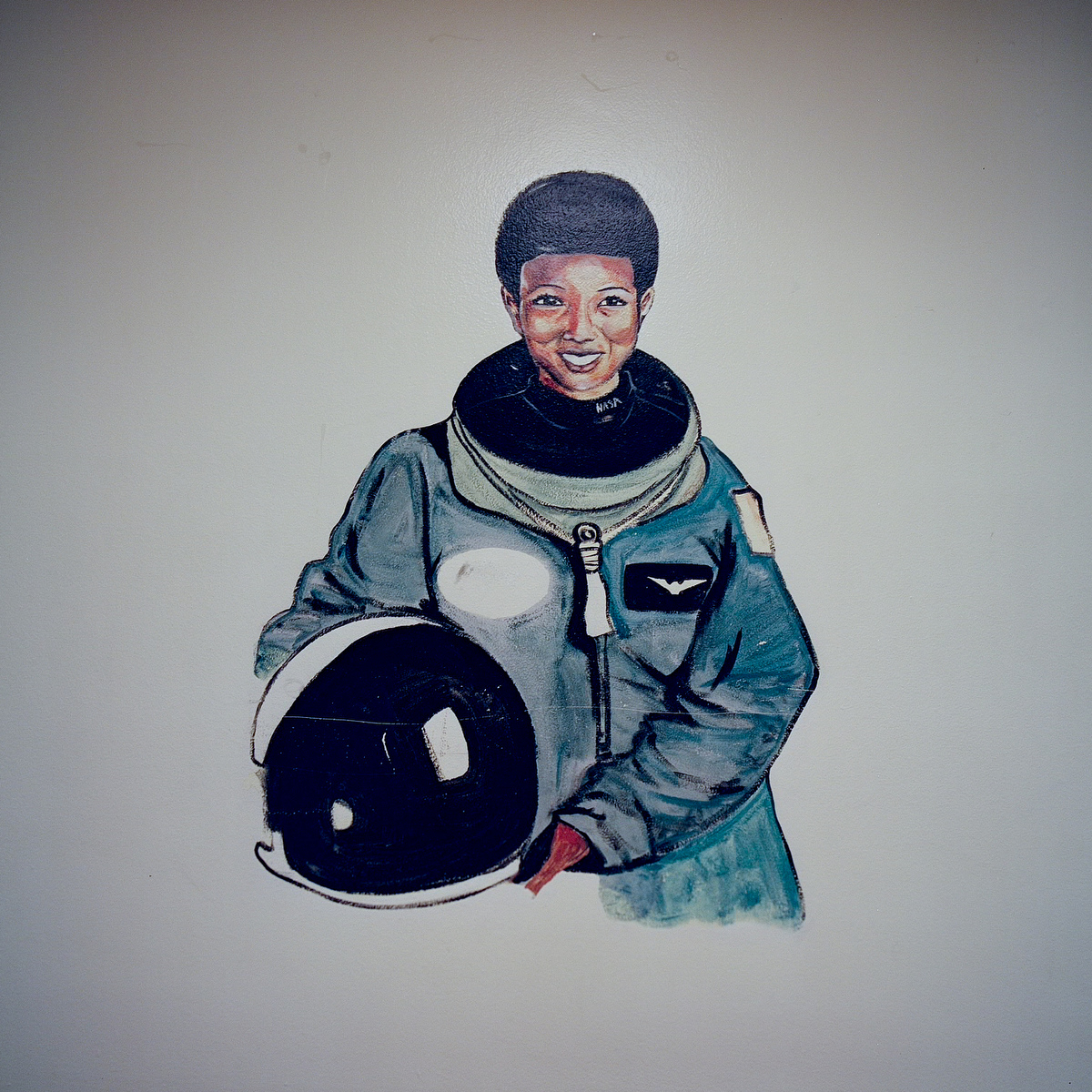 A mural of astronaut Mae Jemison in the hallway of D.A. Hulcy Middle School.