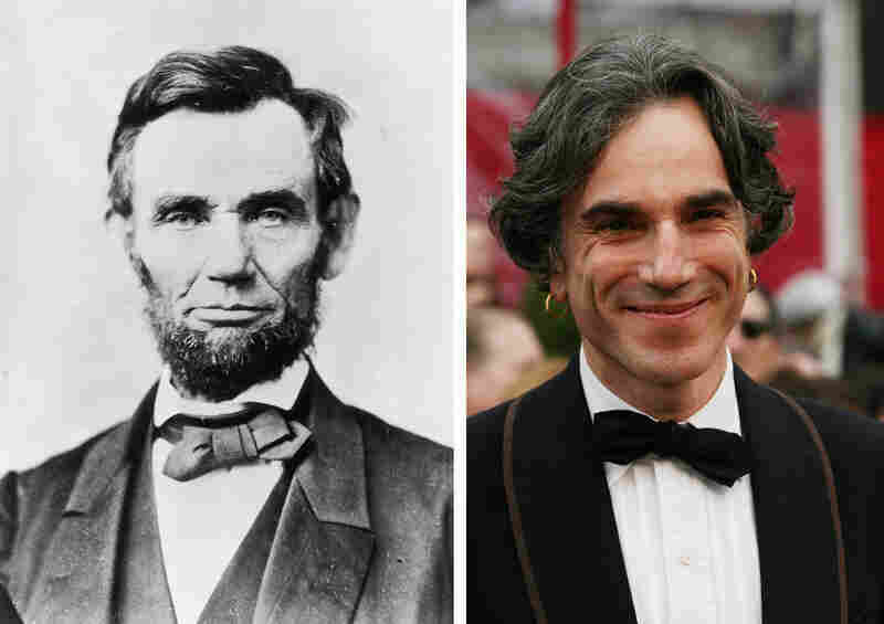 The historical Lincoln, circa 1863, and Day-Lewis at the Academy Awards in 2008.