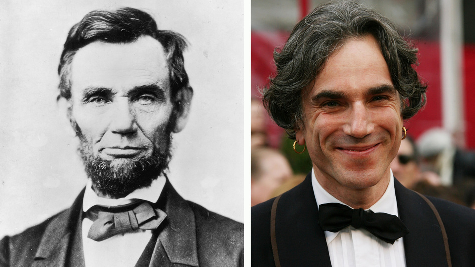 The historical Lincoln, circa 1863, and Day-Lewis at the Academy Awards in 2008. (Getty Images)