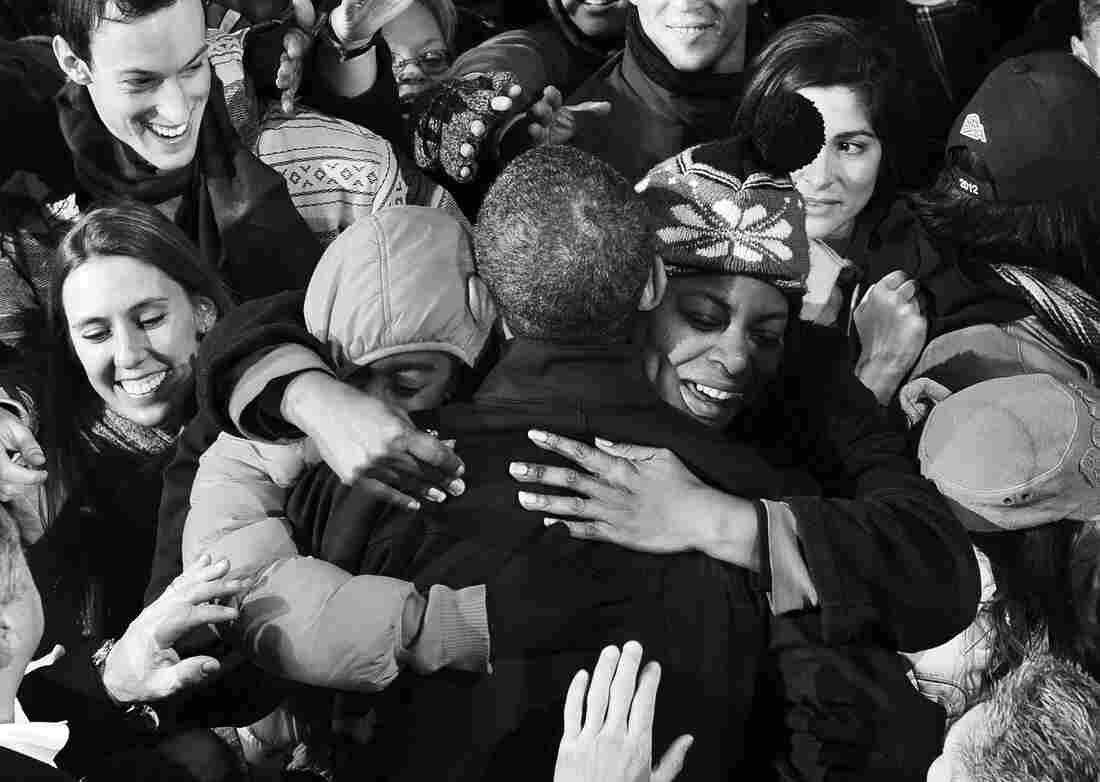 President Obama greets supporters during a campaign rally at Jiffy Lube Live in Bristow, Virginia, on Nov.
