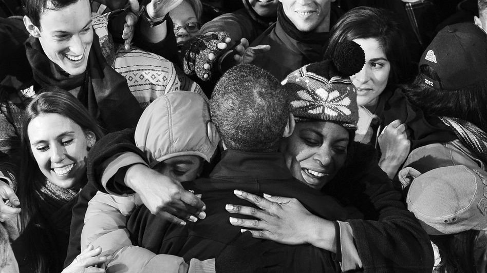 President Obama greets supporters during a campaign rally at Jiffy Lube Live in Bristow, Virginia, on Nov. (AFP/Getty Images)