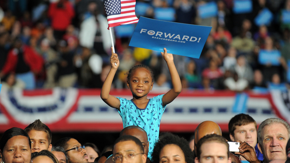 Supporters listen to President Obama at a campaign rally Monday in Columbus, Ohio. (AFP/Getty Images)