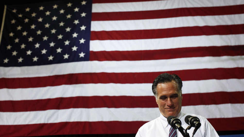 Republican presidential nominee Mitt Romney pauses while speaking at a campaign rally at the Patriot Center at George Mason University in Fairfax, Va., on Monday. (AP)