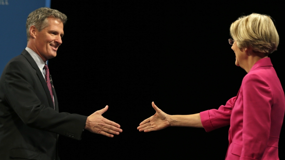 Sen. Scott Brown, R-Mass., shakes hands with Democratic challenger Elizabeth Warren at their Oct. 1 debate in Lowell, Mass. The race is one of a handful of contests that could determine party control of the Senate. (AP)