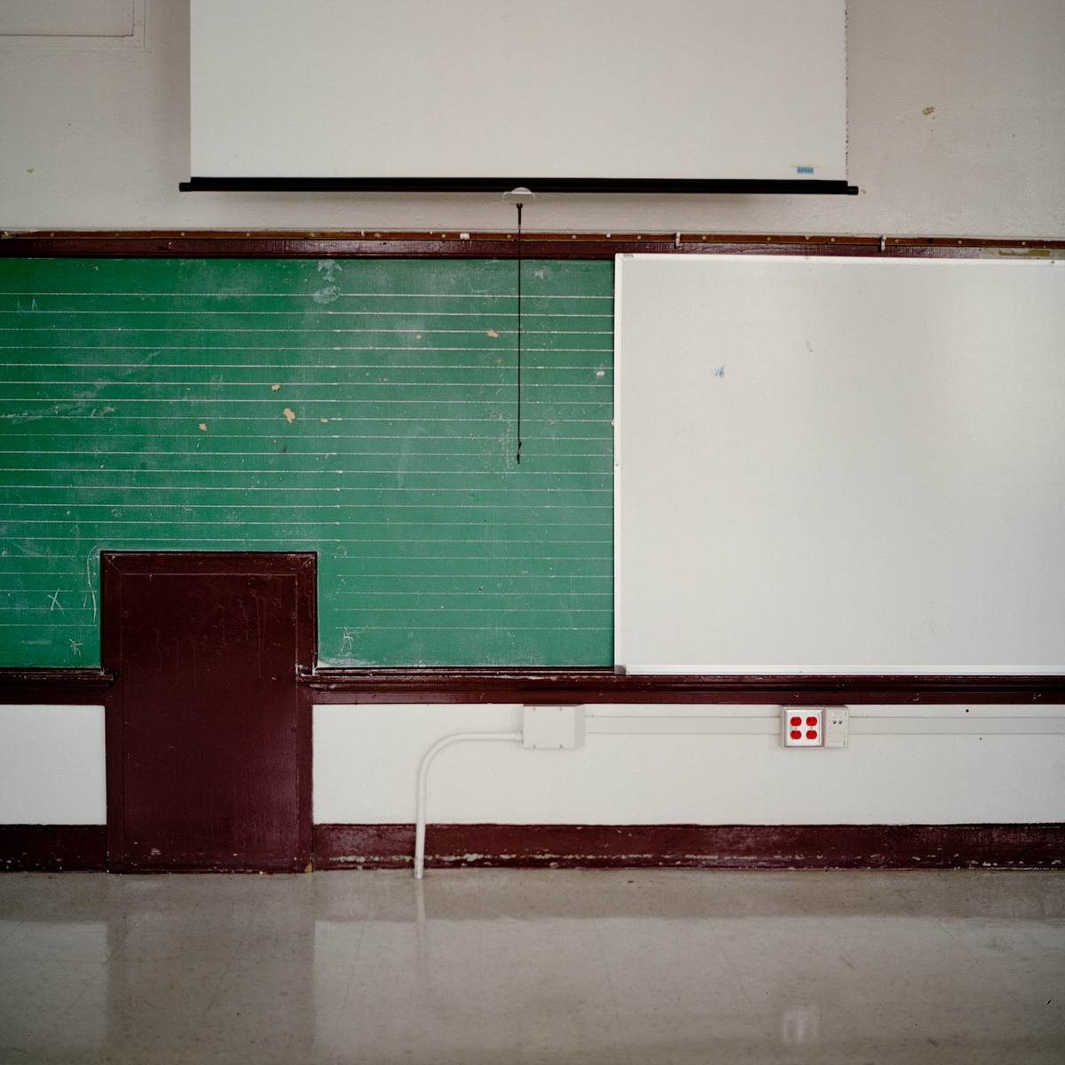 "An empty classroom in James W. Fannin Elementary School in Dallas. ""When I first saw that blackboard, my heart started to pound,"" Smith said. ""I thought, 'This is what I'm looking for.' """