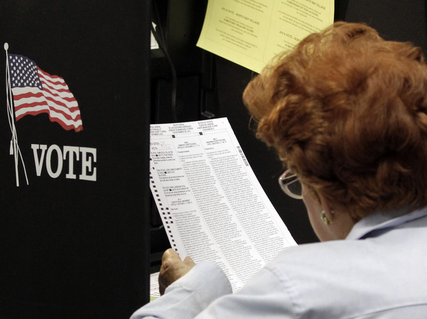 A voter reads her ballot as she prepares to cast her vote during the last day of early voting in Miami on Nov. 3.
