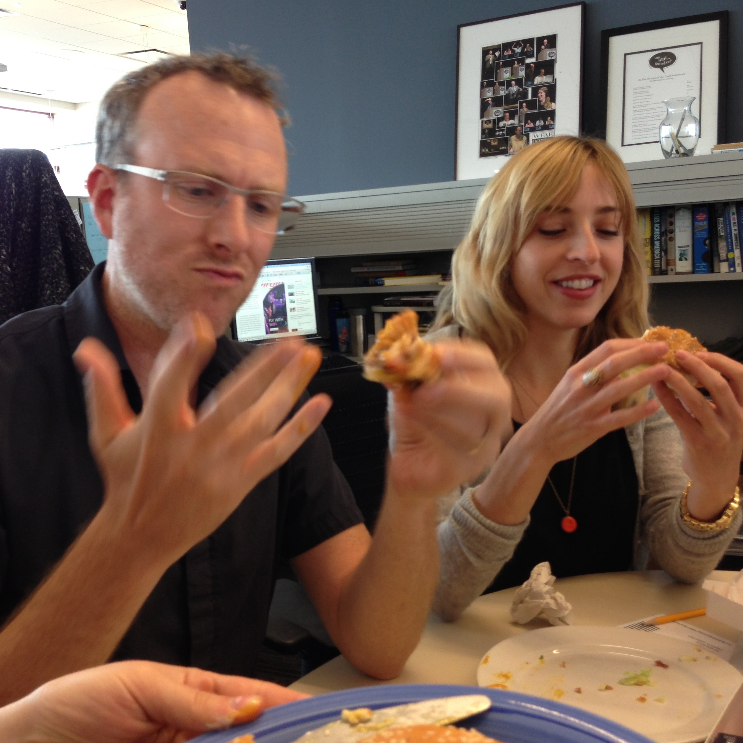 Mike and Eva contemplate their own anger towards sandwiches and each other.
