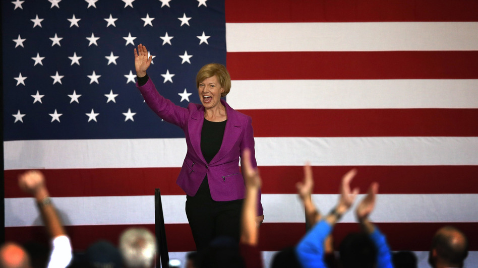 Rep. Tammy Baldwin greets supporters at a campaign rally for President Obama in Milwaukee on Saturday. Baldwin defeated former Wisconsin Gov. Tommy Thompson for a U.S. Senate in Wisconsin. (Getty Images)