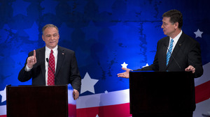 Republican candidate George Allen, right, argues with Democratic candidate Tim Kaine during a Senatorial debate for the Virginia U.S. Senate seat on Thursday, Sept. 20 in McLean, Va.