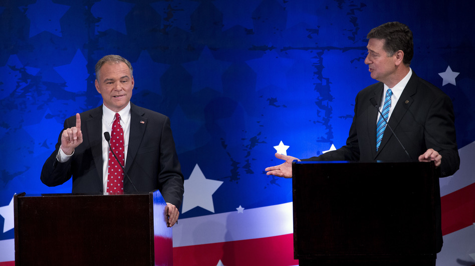 Republican candidate George Allen, right, argues with Democratic candidate Tim Kaine during a Senatorial debate for the Virginia U.S. Senate seat on Thursday, Sept. 20 in McLean, Va. (AP)