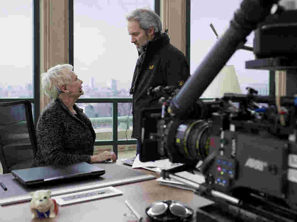 Mendes on the set of Skyfall with Judi Dench, who plays M.