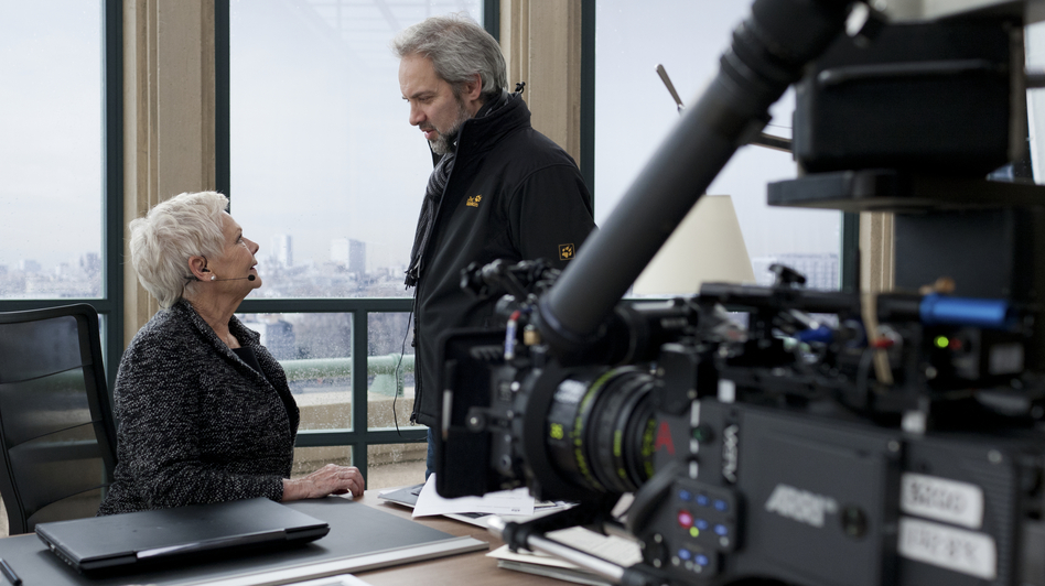 Mendes on the set of Skyfall with Judi Dench, who plays M. (Sony Pictures)
