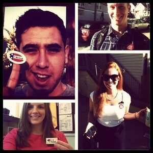 A photo collage of voters on Election Day (counterclockwise from upper left): Oscar Perez, Molly Jepsen, Caryn Voskuil and Will Eden.