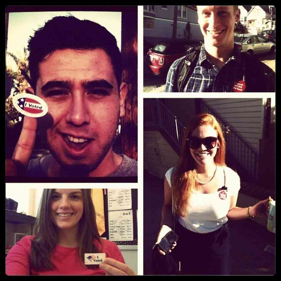 A photo collage of voters on Election Day (counterclockwise from upper left): Oscar Perez, Molly Jepsen, Caryn Vo