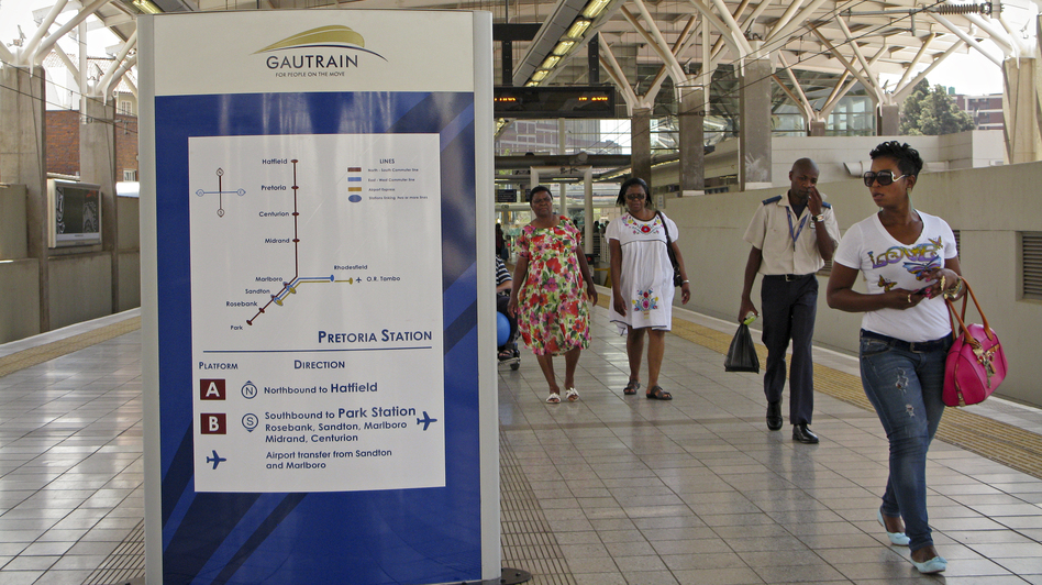 Despite some people's grumbling about ticket prices, the Gautrain is operating at full capacity during peak hours. Passengers praise the cleanliness of the trains as well as the speed. Here is the Gautrain station in Pretoria, South Africa's capital. (NPR)