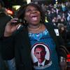 Martha Nunez, 53, of the Bronx, reacts to President Obama's victory Tuesday.