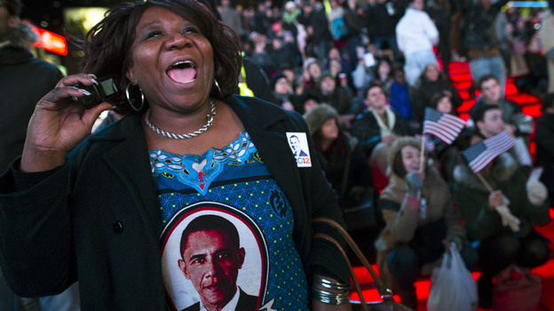 Martha Nunez, 53, of the Bronx, reacts to President Obama's victory Tuesday. (AP)