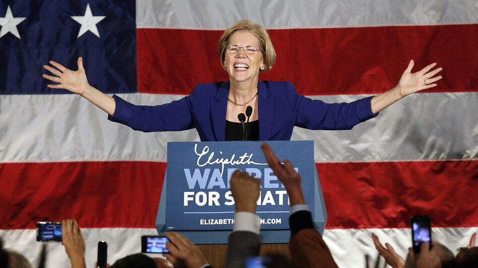 Democrat Elizabeth Warren takes the stage after defeating incumbent GOP Sen. Scott Brown in the Massachusetts Senate race on Tuesday. (AP)