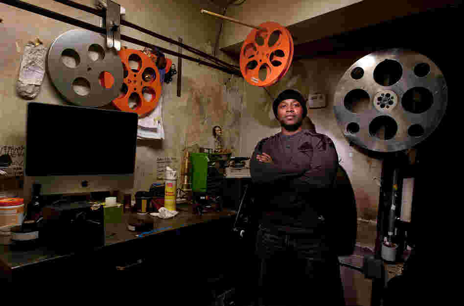 Projectionist and repairman Bryan Diego at Brooklyn Heights Cinema, which is scheduled to close later this year because the building will be demolished.