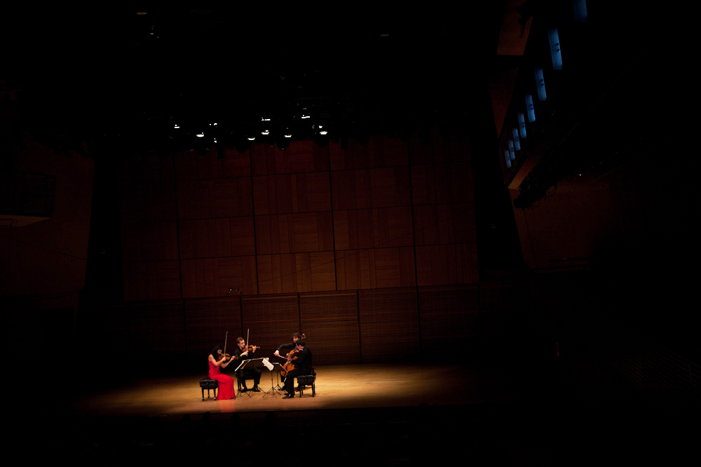 Intimate lighting for intimate music. Just a spotlight on the Belcea Quartet is appropriate for Beethoven's late quartets, which are among his most personal, enigmatic and powerfully forward-thinking pieces.