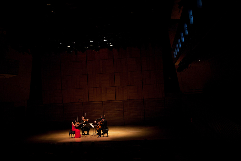 Intimate lighting for intimate music. Just a spotlight on the Belcea Quartet is appropriate for Beethoven's late quartets, which are among his most personal, enigmatic and powerfully forward-thinking pieces. (NPR)