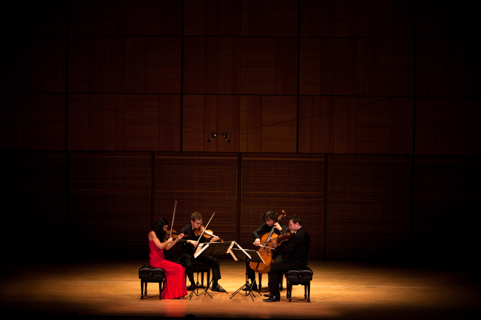 The Belcea Quartet — violinists Corina Belcea (left) and Axel Schacher, cellist Antoine Lederlin and violist Krzysztof Chorzelski (far right) — plays two of Beethoven's late string quartets at Carnegie Hall's Zankel Hall, Nov. 7, 2012. It was the first concert back in the building after Hurricane Sandy forced Carnegie to close for several days.   (NPR)
