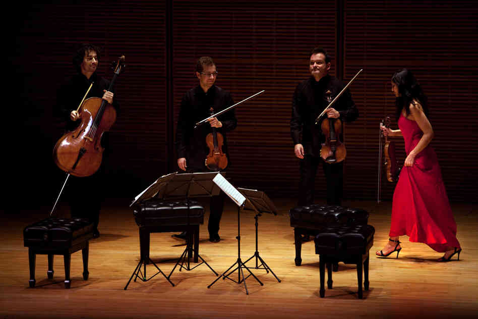 The Belcea Quartet prepares to leaves the stage. They also played Beethoven's enigmatic String Quartet in B flat, Op. 130 at this Zankel Hall performance.