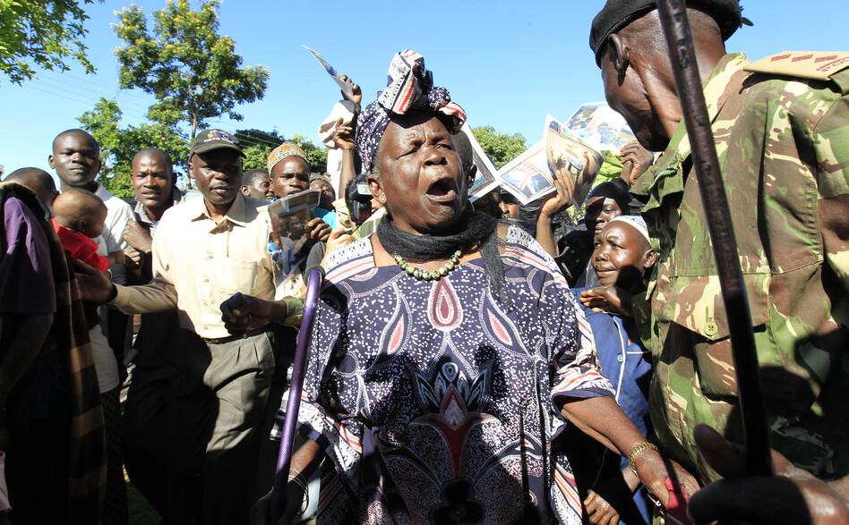 Sarah Hussein Obama, grandmother to President Obama, celebrates his re-election in his ancestral home village of Kogelo, Kenya.