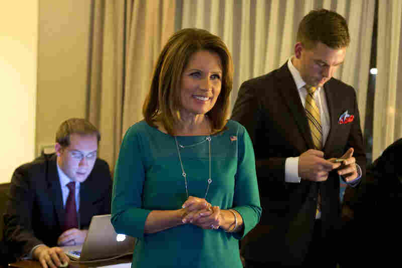 IN: Minnesota Republican Rep. Michele Bachmann watches election results at a hotel in Bloomington, Minn., on Tuesday.
