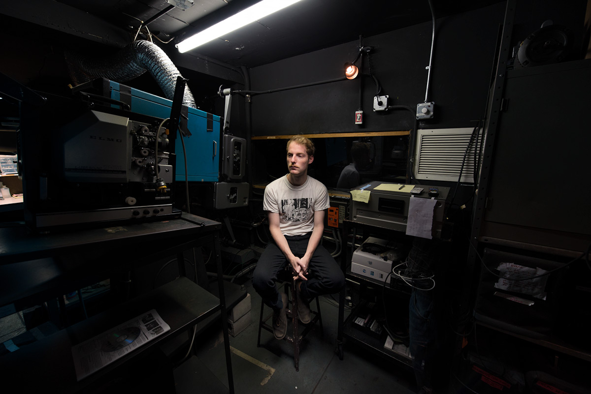 Projectionist Jacob Weiner at Anthology Film Archives in New York City.