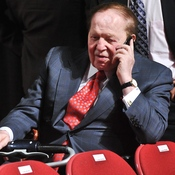Casino magnate Sheldon Adelson at the presidential debate between Mitt Romney and President Obama, in Denver on Oct. 3. Adelson invested millions in an effort to help elect Romney — but only after bankrolling a superPAC for former House Speaker Newt Gingrich in his anti-Romney Republican primary battle.