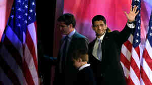 Republican vice presidential candidate Rep. Paul Ryan waves to the crowd as he walks off of the stage after Republican presidential candidate, Mitt Romney, conceded the presidency.