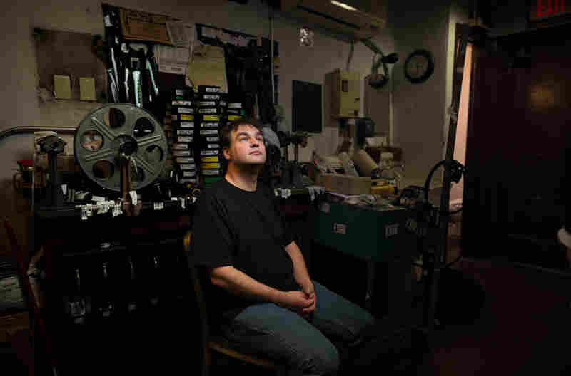 Projectionist Tom Doyle at the Avon Theater, Stamford, Conn.