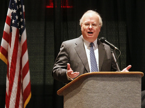 Karl Rove, former adviser to President George W. Bush, speaks last year in Corpus Christi, Texas. Rove is the chief fundraiser for the biggest outside spender this election season: the twin groups American Crossroads and Crossroads GPS.
