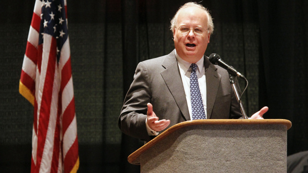 Karl Rove, former adviser to President George W. Bush, speaks last year in Corpus Christi, Texas. Rove is the chief fundraiser for the biggest outside spender this election season: the twin groups American Crossroads and Crossroads GPS. (AP)