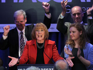 New Hampshire Gov.-elect Maggie Hassan speaks to supporters Tuesday in Manchester, N.H., after defeating Republican Ovide Lamontagne to