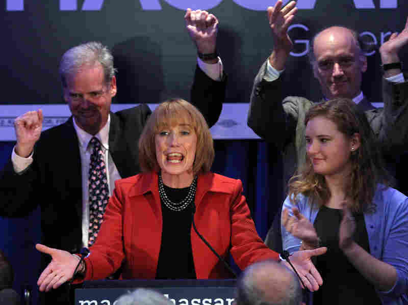New Hampshire Gov.-elect Maggie Hassan speaks to supporters Tuesday in Manchester, N.H., after defeating Republican Ovide Lamontagne to keep the governor's seat in Democratic control.