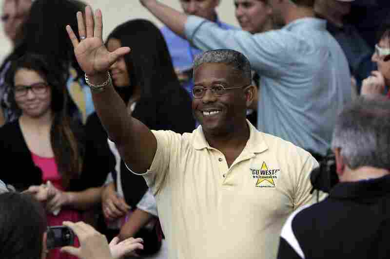 OUT: Florida Republican Rep. Allen West, another Tea Party freshman, waves before a campaign rally for Mitt Romney last month in Port St. Lucie, Fla.