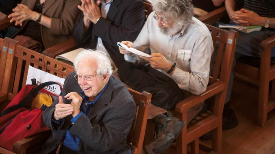 Elliott Carter at Tanglewood in 2008 on the occasion of his 100th birthday. Classical music critic Lloyd Schwartz is sitting right behind Carter. (Michael J. Lutch)