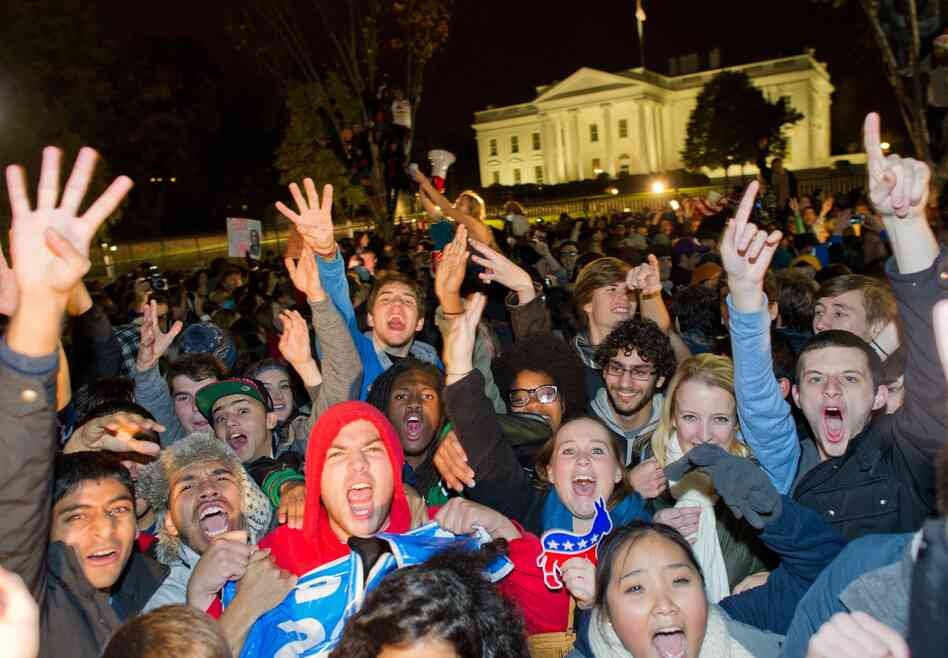 The scene outside the White House Wednesday after Preside